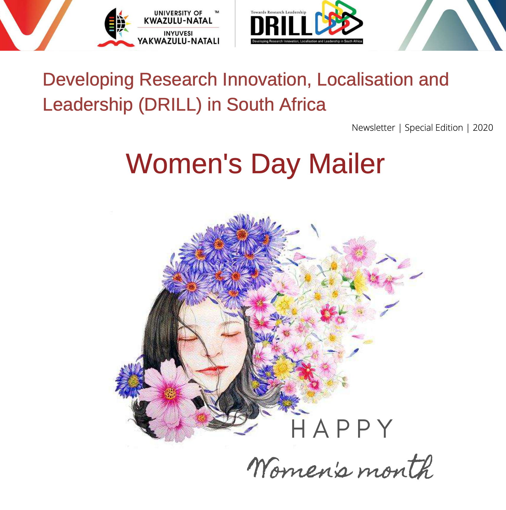 Developing Research Innovation, Localisation and Leadership (DRILL) in South Africa's Special Women's Day Mailer